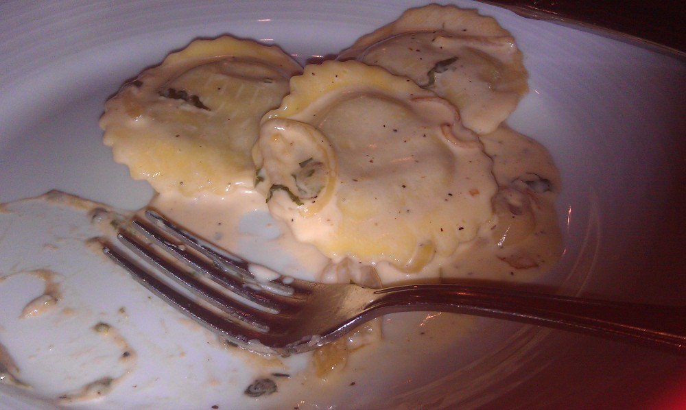 Portabella and spinach ravioli