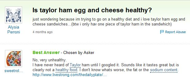 is taylor ham healthy