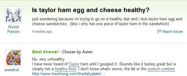 is taylor ham healthy