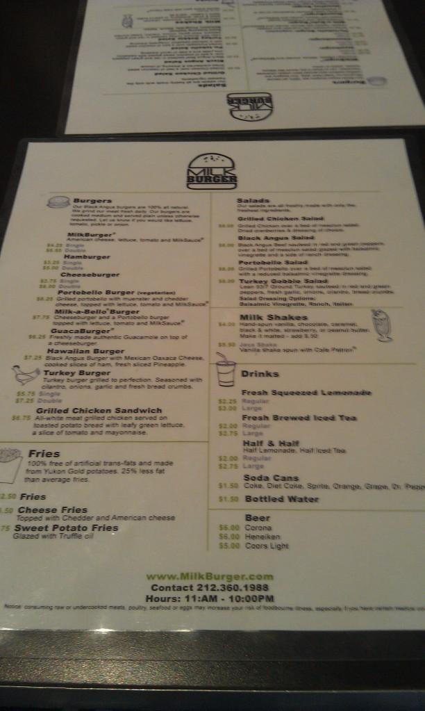 Milk Burger menu