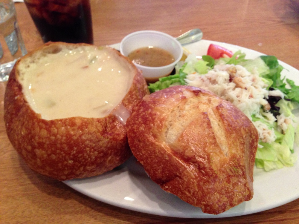 Alioto's clam chowder in sourdough bowl