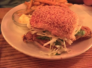 fried chicken burger at Ruby's