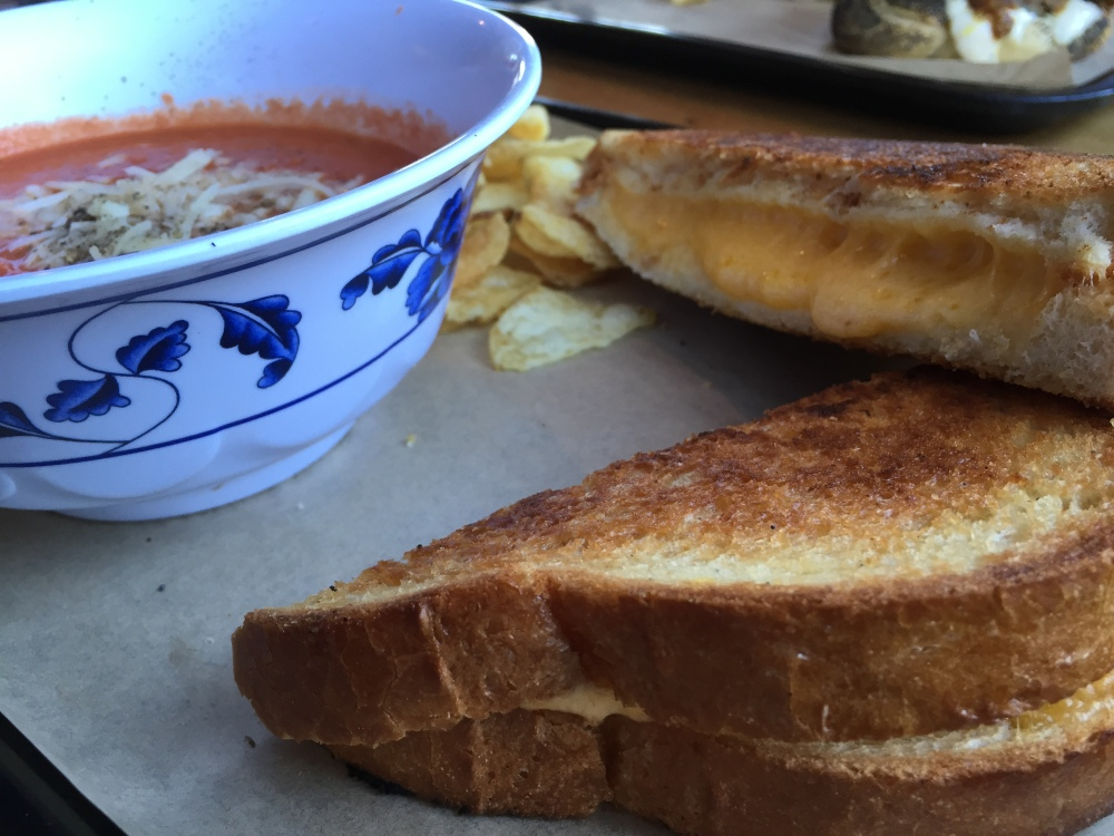 bunk bar water grilled cheese and tomato soup